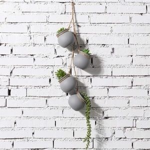 Hanging Gray Ceramic Planter Pots with Jute Rope